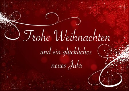 Christmas Greeting with Snowflakes on Red Background with Bokeh and Blur Effects - Abstract Festive Illustration, Vector Graphic