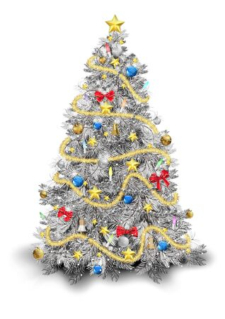 Silver Christmas Tree with Colorful Ornaments Isolated on White Background - Detailed Colored Illustration for Your Merry Christmas Greeting, Vector Illustration