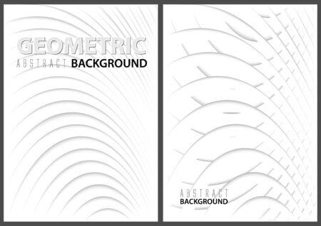 White Abstract Backgrounds with Paper Graphic Layers with 3D Shadow Effects - Two Three-dimensional Pattern Illustrations, Vector Banque d'images - 138469120