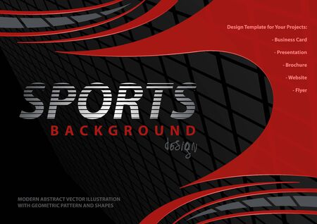 Abstract Background with Red Curved Shapes on Black with Squared Pattern