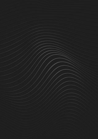 Silver Lined Abstract Pattern on Black Background with Wave Effect