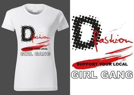 Women White T-shirt Design with Inscriptions and Red Brush Stroke Ilustração