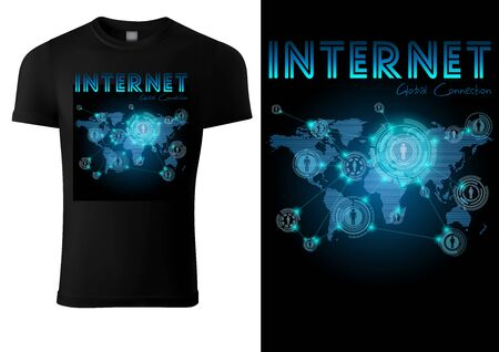 Black T-shirt Design with Blue Neon Internet Motif - Glowing World Connection Illustration, Vector