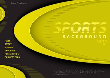 Abstract Yellow-Black Background in Sport Design Style with Decorative Elliptical Shapes and Layers with Shadows - Modern Illustration for Your Projects, Vector