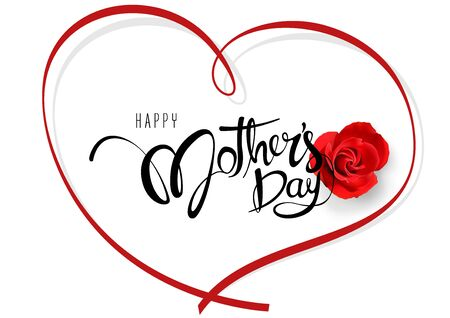 Happy Mother's Day Calligraphy with Red Rose and Heart Decorative Shape with Shadows on White Background - Colored Illustration, Vector Ilustração