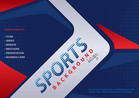 Abstract Red-Blue Background in Sport Design Style with Decorative Shapes on Squared Halftone Pattern - Modern Illustration for Your Projects, Vector Ilustração