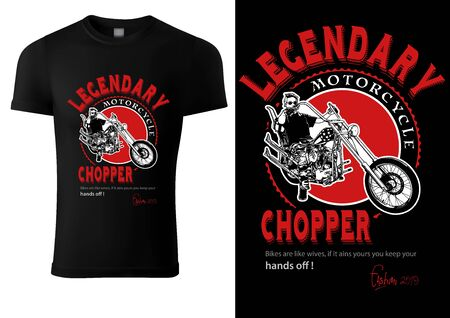 Black T-shirt Design with Motorcyclist and Inscriptions - Graphic Design for Printmaking T-shirt or Poster and etc., Vector