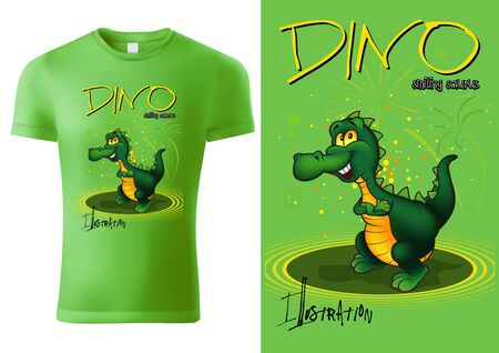 Green Child T-shirt Design with Cartoon Dino Character - Cheerful Unisex Illustration, Vector Vectores