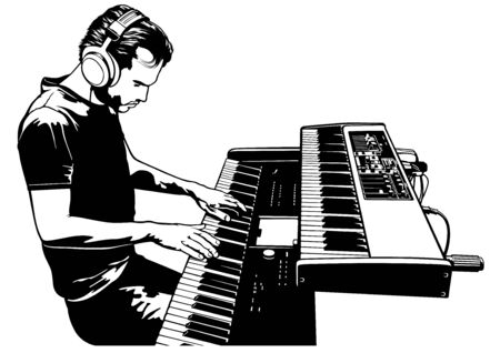 Musician Playing on the Keyboard Synthesizer Piano Keys - Black and White Drawing Sketch Illustration, Vector Graphic