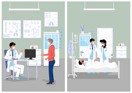Medical Illustration of Doctor's Office and Hospital. Vecteurs