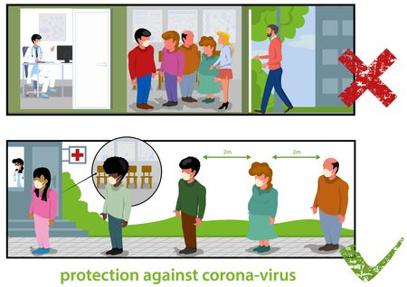 Protection Against Corona-virus an Instructional Color Illustration of How to Behave Properly.