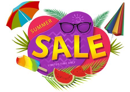 Summer Sale Sticker or Banner - Colorful Seasonal Graphic Illustration with Beach Umbrella and Melons and Palm Leafs and More, Vector Ilustração