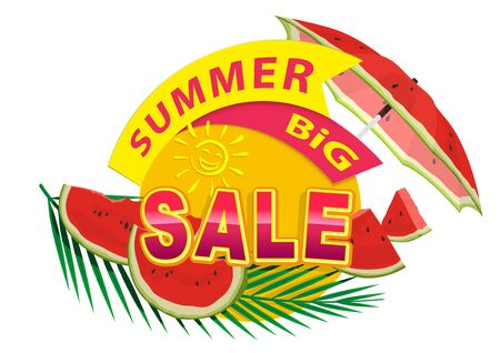 Summer Sale Sticker or Banner with Melon Decorations and Palm Leaf - Colorful Seasonal Graphic Illustration, Vector