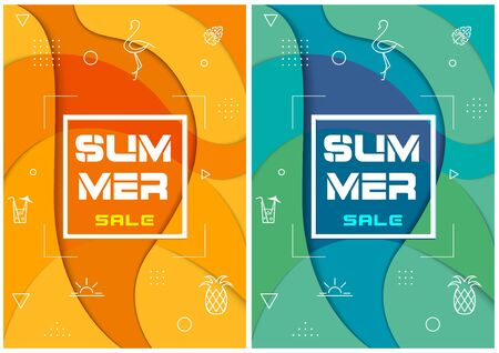 Set of Two Colorful Summer Sale Backgrounds - Trendy Abstract Illustrations for Your Design, Vector Graphic Illustration