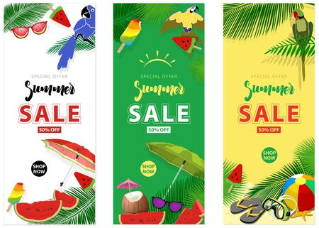 Summer Sale Background Layout for Banners - Set of Three Color Design Illustrations, Vector Иллюстрация