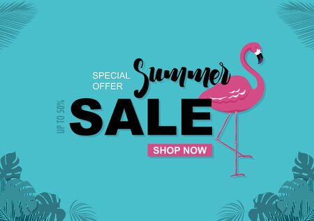Summer Sale Background with Flamingo and Tropical Leaves in Turquoise Color Tones - Illustration, Vector
