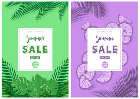 Green and Purple Summer Sale Background with Tropical Plants and Sliced Lime Pieces - Modern Graphic Design Illustrations, Vector