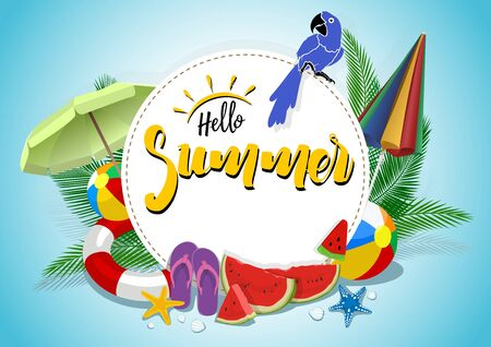 Hello Summer Vector Banner Design with White Circle for Text and Colorful Beach Elements - Holiday Background Illustration, Vector 向量圖像