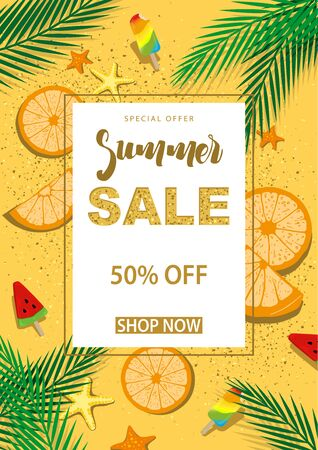Summer Sale Banner with Symbols for Summer Time Such as Orange Slices and Ice-cream and Palm Leafs and Beach Sand and etc. - Vector Illustration 向量圖像