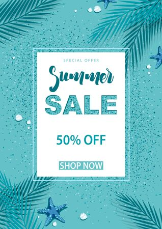 Turquoise Summer Sale Background with Decorative Palm Leafs and Sea Sand and Starfish and Sea Shells - Vector Illustration
