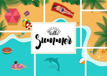 Hello Summer with Summer Relaxation Background - Colorful Illustration with Beach and Sea and Palm Leaves and Resting People on Vacation, Vector