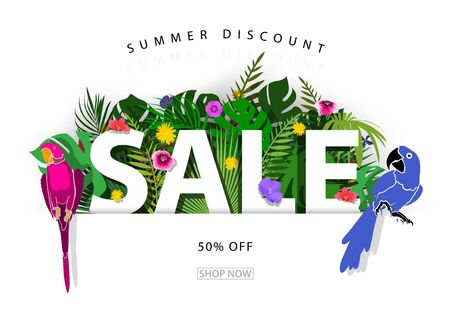 Summer Sale Background or Banner with Tropical Plants and Parrots - Colorful Illustration with Detailed Shadows, Vector