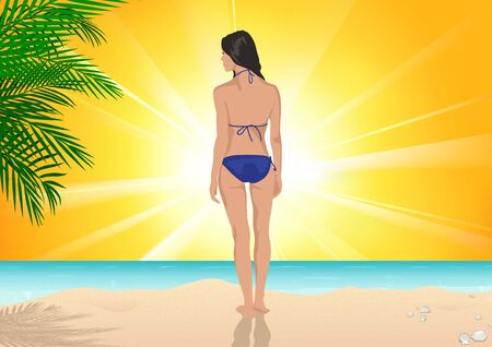 Girl Standing on the Beach on a Sunny Day - Colored Illustration of Summer Vacation with Sea in the Background and Palm Leaves, Vector Graphic