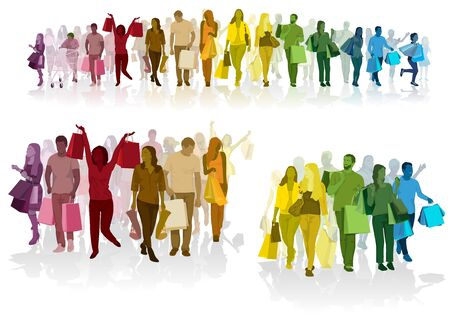 Colorful Crowd of Shopping People Carrying Shopping Bags with Purchases - Colored Set for Your Graphic Projects, Vector Illustration