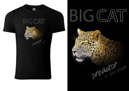 Black T-shirt Design with Leopard Head and Inscriptions - Colored Graphic Design, Vector Illustration