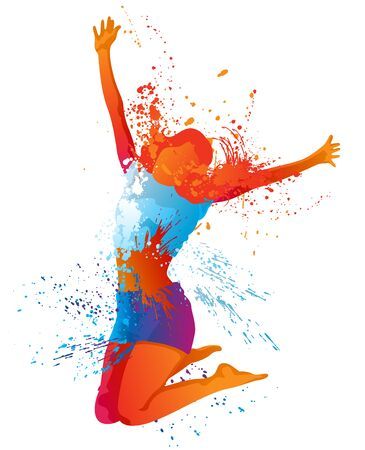 The Dancing Girl with Colorful Spots and Splashes on White Background - Abstract Illustration, Vector Graphic