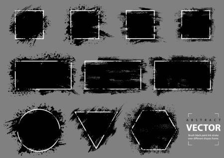 Brush Black Paint Ink Stroke over Different Shapes Frame - Set of Graphic Illustrations Isolated on Gray Background, Vector Ilustração