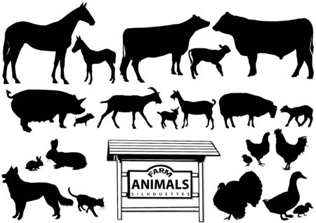 Farm Animals Silhouettes Isolated on White - Collection of Black Illustrations, Vector
