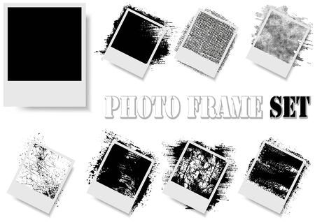Photo Frame with Texture Effects Isolated on White Background - Black and White Illustration, Vector Ilustração