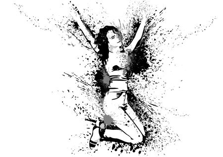 Dancing Girl with Ink Stains and Splashes on White Background - Abstract Artistic Illustration, Vector Graphic