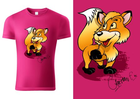 Pink Child T-shirt Design with Cartoon Fox Character - Cheerful Unisex Illustration, Vector