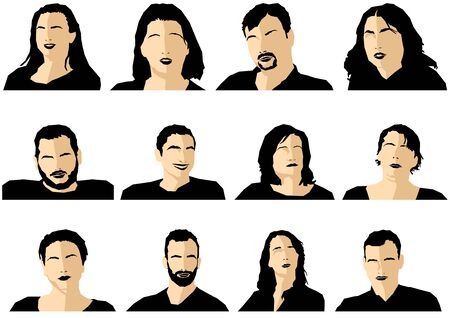 Avatar Profile Picture Icon Set Including Male and Female on White Background - 12 Different Graphic Illustrations, Vector Ilustração
