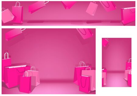 Pink Shopping Bags Set on White Background - Banner and Background and Business Card Illustration in Pink Colors, Vector Graphic