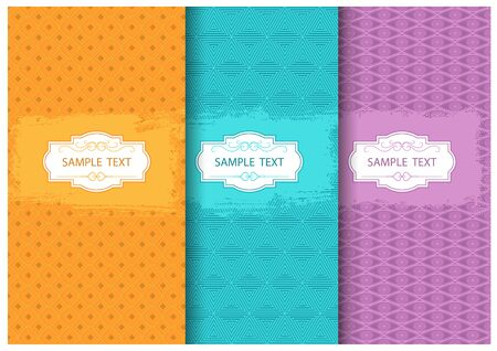Abstract Seamless Geometric Patterns with Brushstroke Decoration and Text Frame - Colorful Illustrations, Vector Graphic