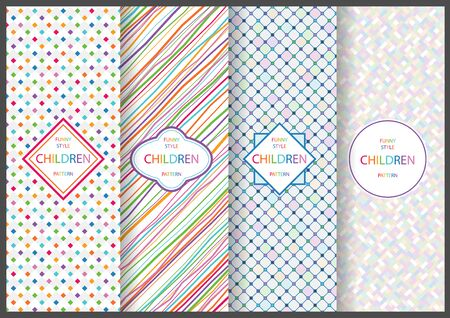 Colorful Seamless Patterns with Bright Geometry Shapes for Children - Set of Four Graphic Illustrations, Vector Ilustração