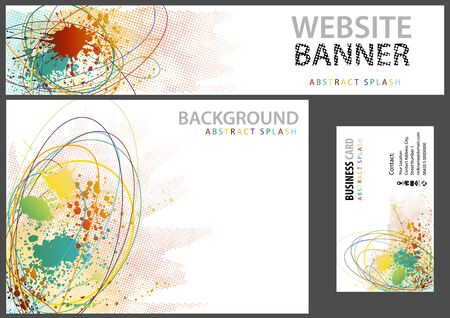 Abstract Splash Background Set - Colorful Splashes and Grunge Pattern and Colored Lines on White for Website Banner or Background or Business Card, Vector