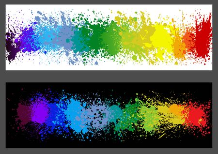 Color Paint Splashes Banner - Set of Two Banners with Colorful Splashes on White and Black Background, Vector Illustration