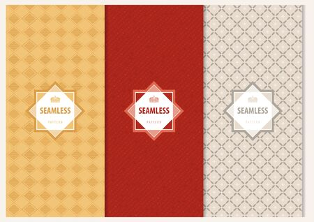 Abstract Seamless Geometric Patterns with Decorative Text Frame - Colored Illustrations, Vector Graphic Ilustração
