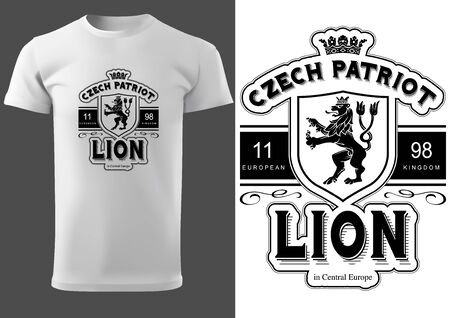 White T-shirt Design with Lettering Czech Patriot Lion - Black and White Graphic Design, Vector Illustration