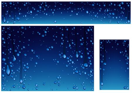 Set of Backgrounds with Many Water Drops on Blue Background - Banner and Background Illustration and Business Card