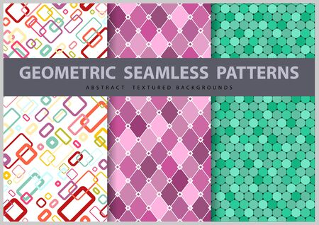 Set of Three Abstract Seamless Geometric Patterns - Colored Illustrations, Vector Graphic