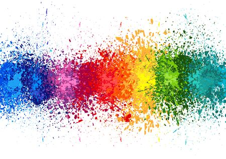 Color Paint Splashes Banner - Banner with Colorful Splashes on White Background, Vector Illustration