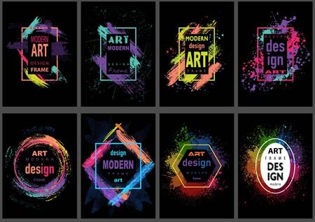 Set of Eight Modern Vector Art Graphics Frames - Artistic Colorful Illustrations in Neon Colors on Black Background