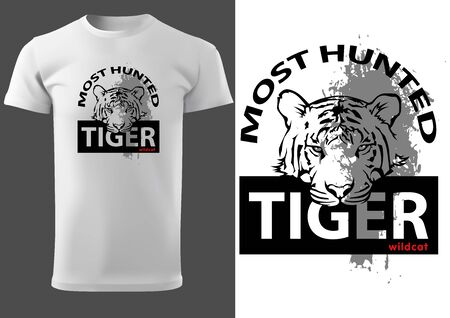 White T-shirt Print Design with Tiger Head and Inscriptions Most Hunted Tiger - Black and White Graphic Design, Vector Illustration