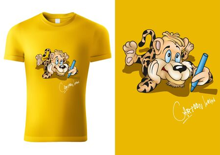 Yellow Child T-shirt Design with Cartoon Leopard Character - Cheerful Unisex Illustration, Vector