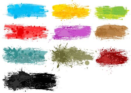 Colorful Watercolor Banners - Set of 10 Grungy Illustrations with Brush Stroke Effect and Splattered Effect, Vector